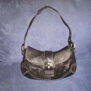 COACH Black All Leather Smaller Hobo Bag